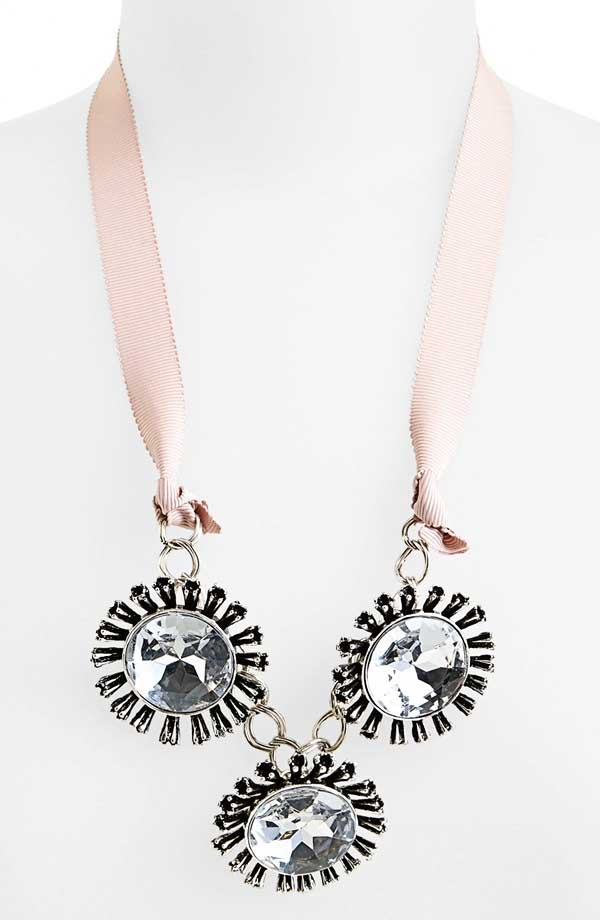 Tildon Crystal Flower Ribbon Necklace