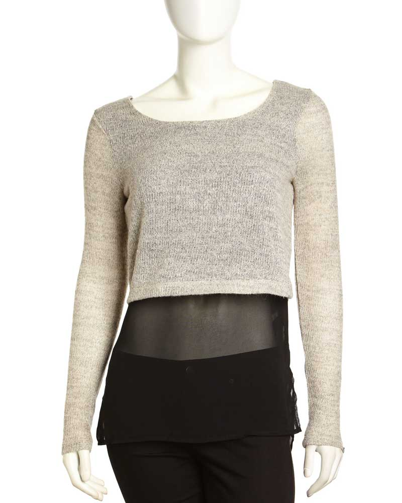 Dex Knit and Chiffon Cropped Sweater