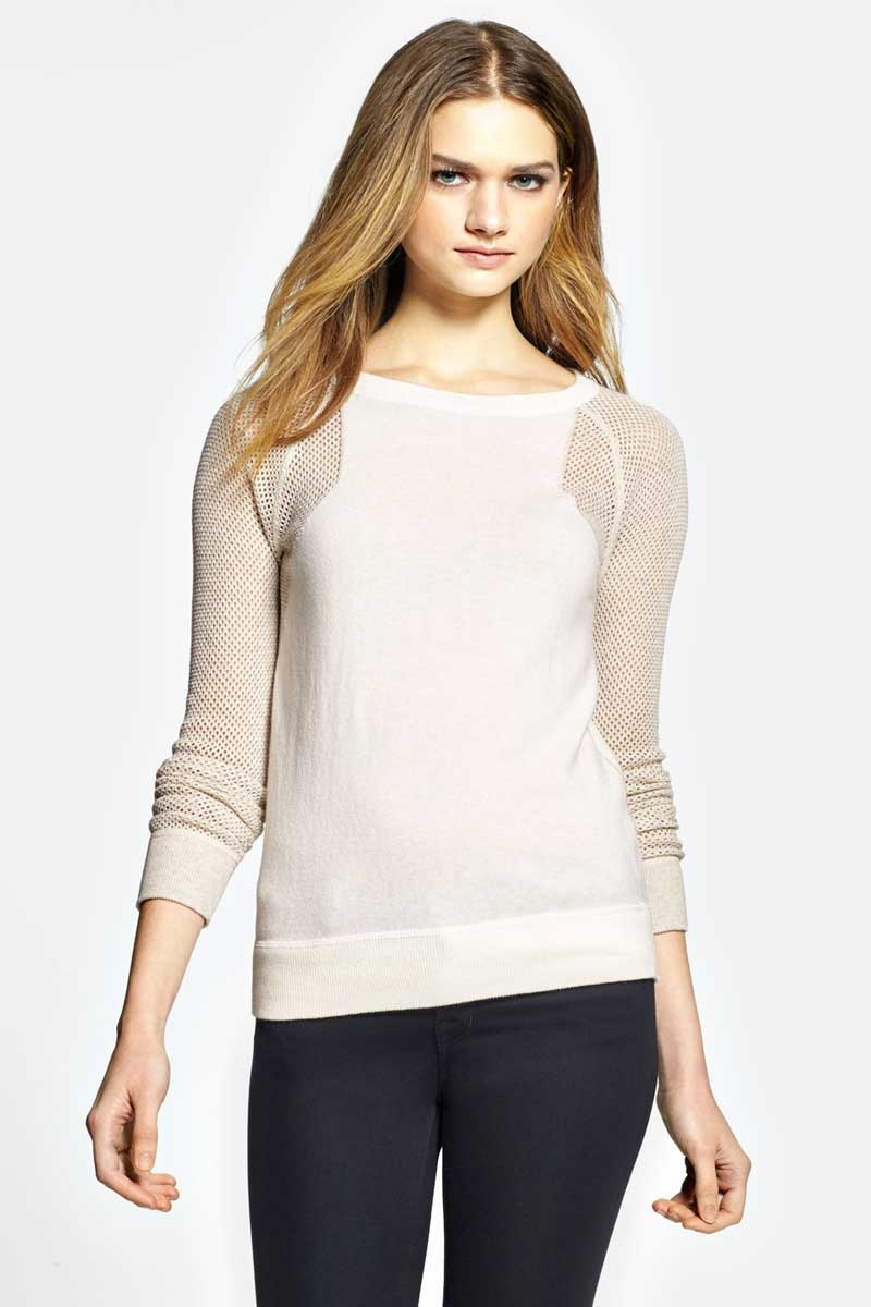 Daily Deal: Halogen Mesh Sleeve Cashmere Sweater