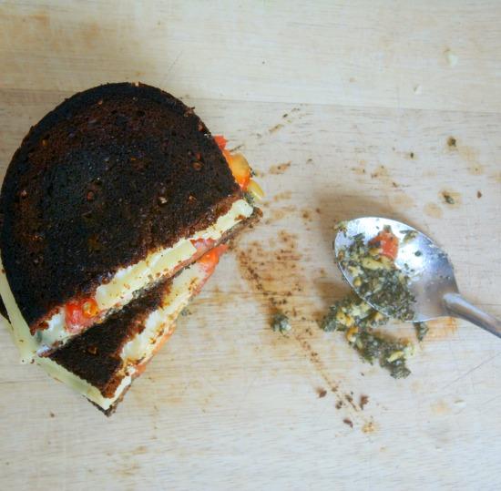 pesto grilled cheese on pumpernickel rye