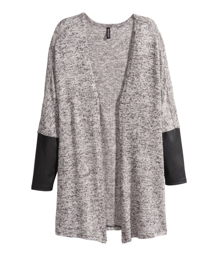 HM fine knit and faux leather cardigan