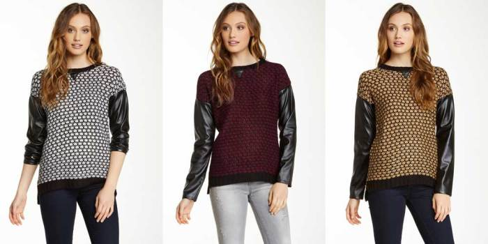 Romeo & Juliet Faux Leather Sleeve Sweater