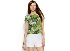INC Palm Leaf Boatneck Top, $36.99