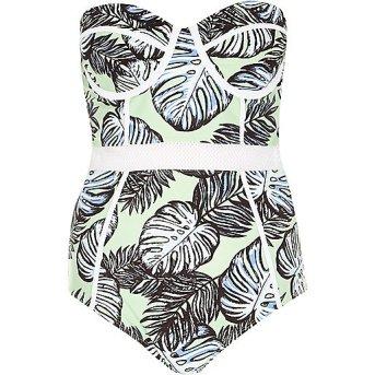 River Island Palm Print One Piece Swimsuit, $70