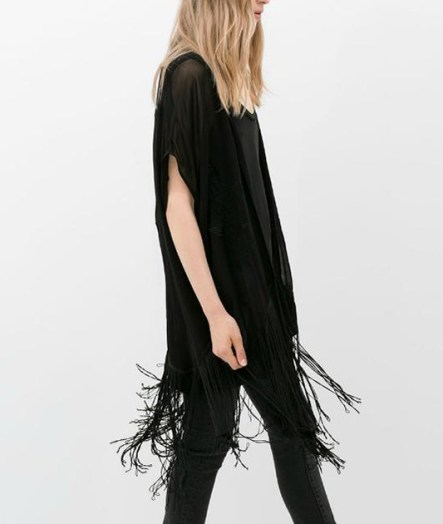 ChicNova Black Embroidered Tassel Kimono Cardigan, $22.46