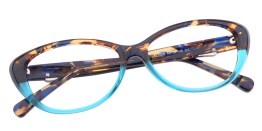 Tortoiseshell & Teal Cat Eye Glasses