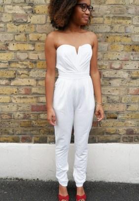 TFNC White Bustier Jumpsuit, $45.26
