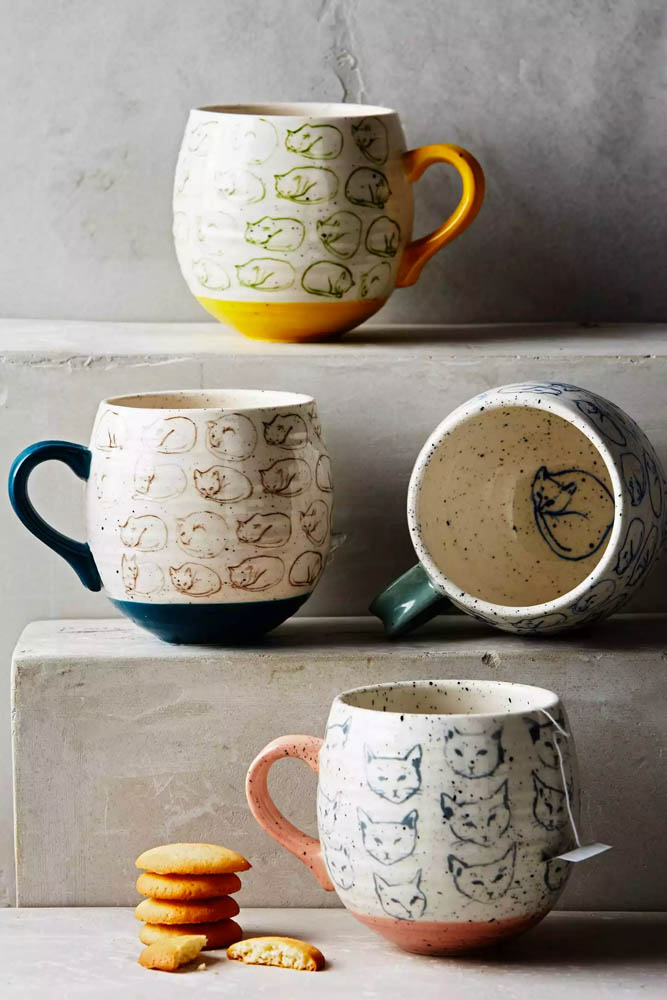 Anthropologie Cat Head Study Mug