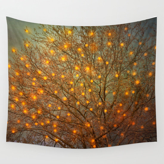 Warm Glow Tree Lights Tapestry