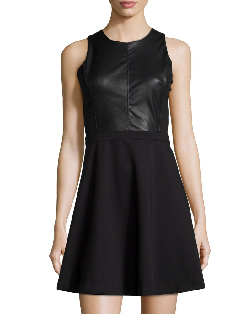 Dex Faux Fit Flare Leather Dress