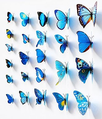 24 Blue Butterfly Wall Decals Angle