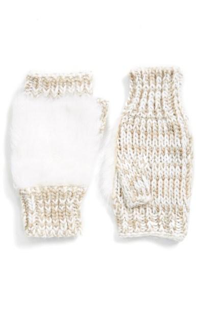 faux fur fingerless gloves oatmeal