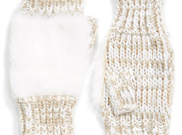faux fur fingerless gloves oatmeal