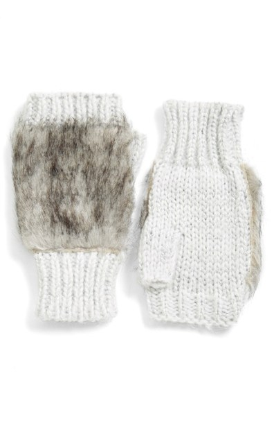 faux fur fingerless gloves whiteme t