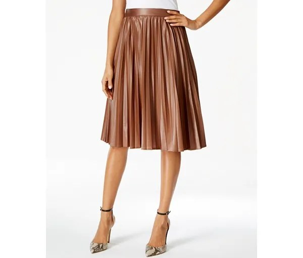 Grace Elements Pleated Faux Leather Skirt in Tan