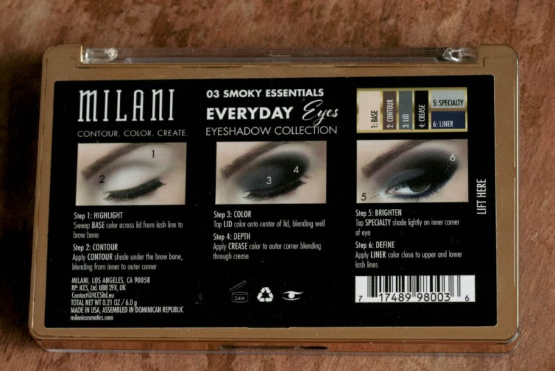 Milani Smokey Essentials Palette Directions