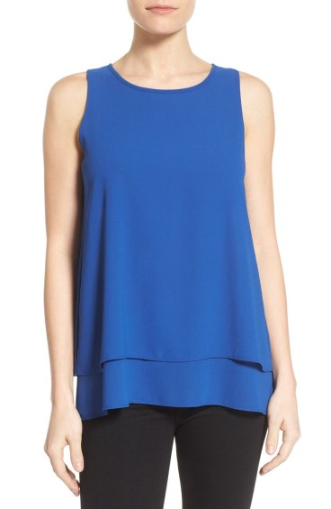 Bobeau Tiered Split Back Cobalt Blue Top