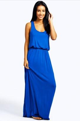 Boohoo Cobalt Blue Racerback Maxi Dress