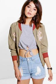 Boohoo Eloise Embroidered Olive Bomber Jacket