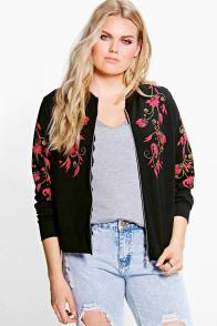 Boohoo Plus Clara Embroidered Bomber Jacket