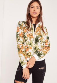 Missguided Tropical Print Bomber Jacket