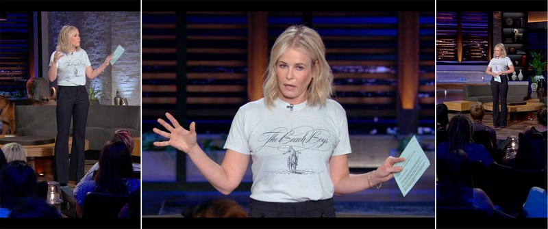 Chelsea Handler's Netflix Style: Beach Boys Tee & High Waist Pants