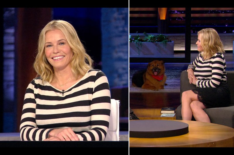 Chelsea Handler's Netflix Style: Striped Top and Black Pencil Skirt