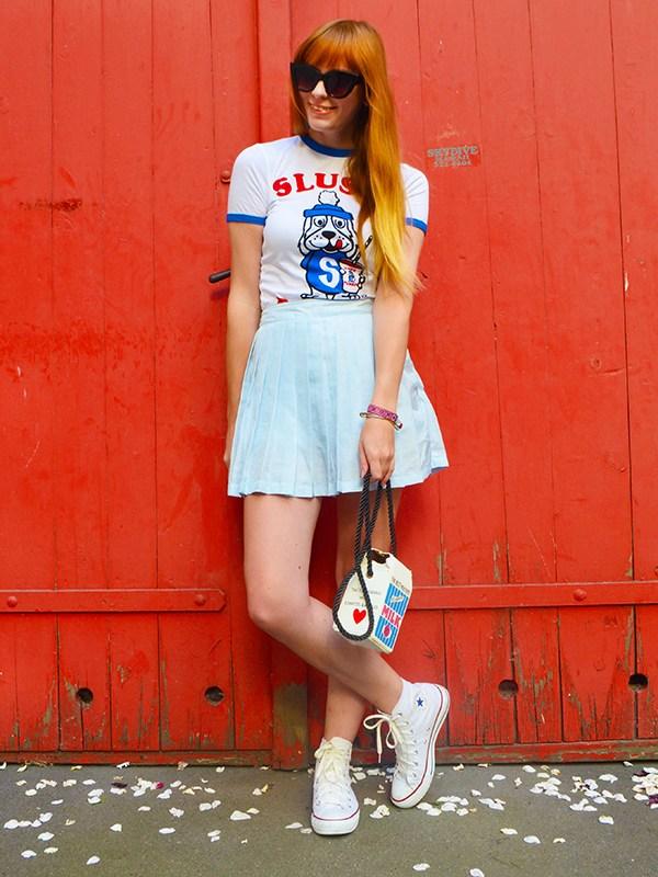 retro blogger outfit style converse ringer tee slush puppy milk purse