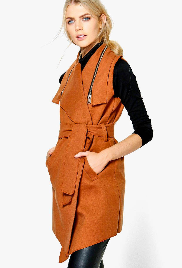 Boohoo Orange Rust Sleeveless Zip Jacket