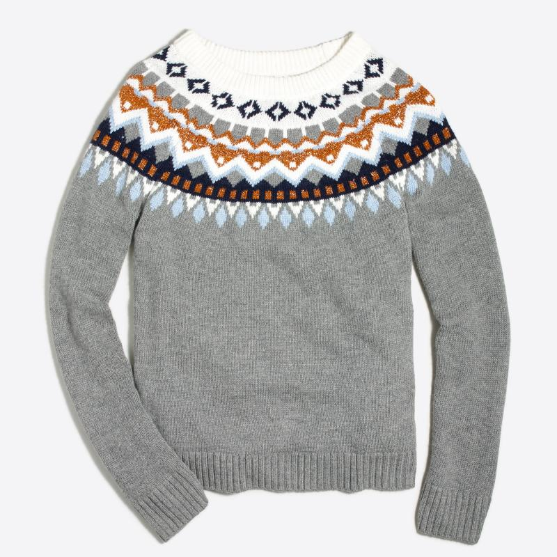 J Crew Factory Metallic Fair isle Sweater