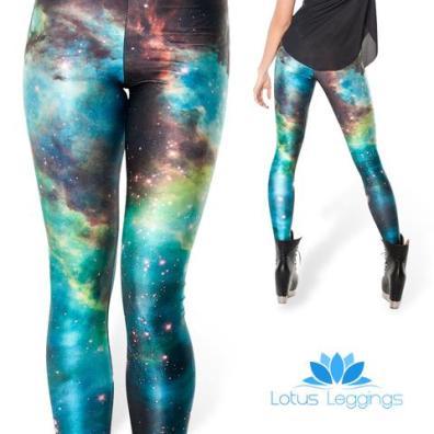 Lotus Leggings Galaxy Print Leggings in Teal