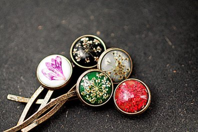 Real dried flower hair pins barettes