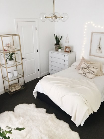 Graphic White Walls Bedroom