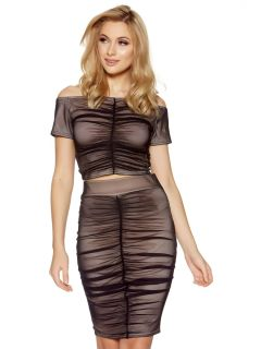 Black Mesh Ruched From Midi Skirt & Top, $33.18 & $28.20