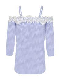 White and Blue Crochet Trim Bardot Top, $41.48