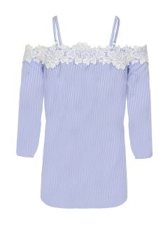 White and Blue Crochet Trim Bardot Top, $41.48