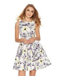 Gray and Lemon Satin Skater Dress, $99.58