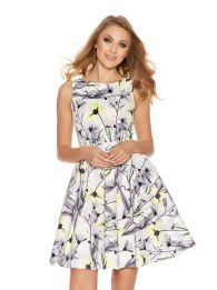 Gray and Lemon Satin Skater Dress, $99.58