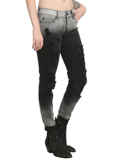 Hot Topic Lovesick Destroyed Ombre Skinny Jeans