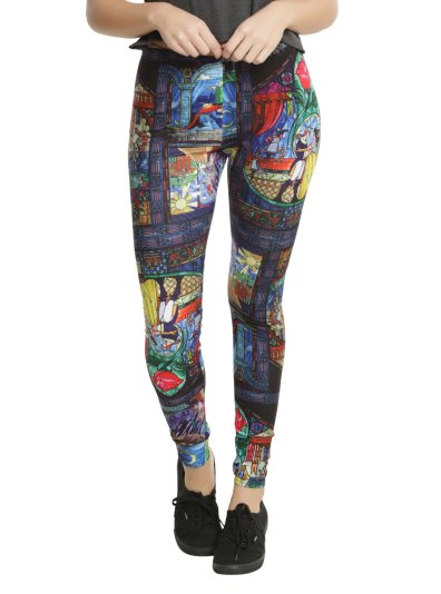 ot HTopic Beauty The Beast Stained Glass Leggings