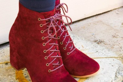 Pic & Pay Benji Burgundy Lace Up Boots