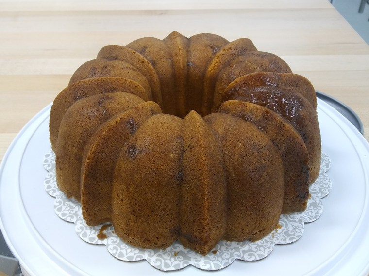 Plated caramel apple bundt cake