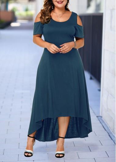 blue cold shoulder plus size gown