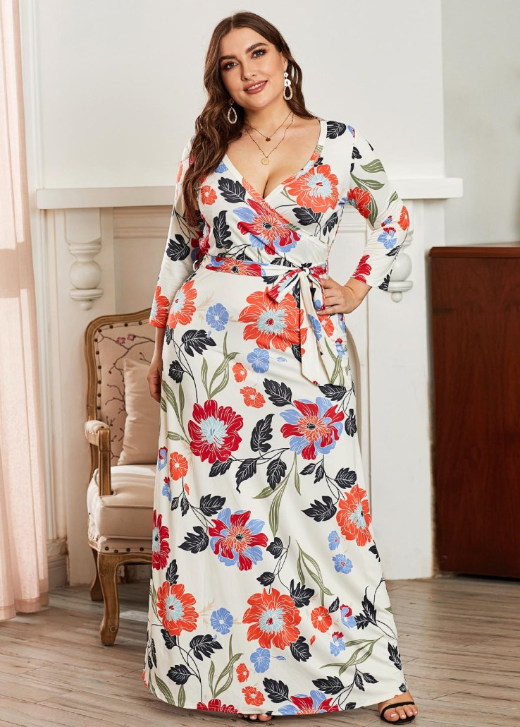 long maxi dress with flower prints