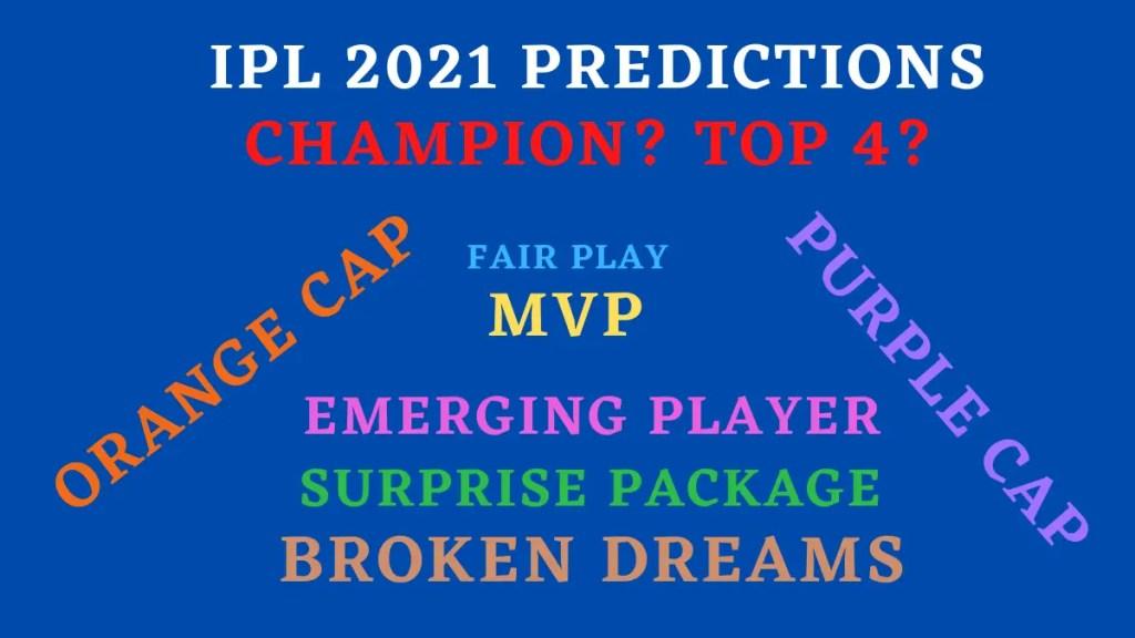 IPL 2021 Predictions Graphic