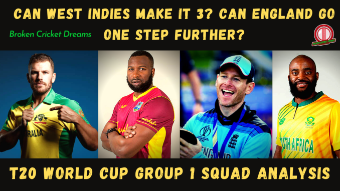 Group 1 2021 T20 World Cup Squads - Picture of Captains Finch, Pollard, Morgan, and Bavuma