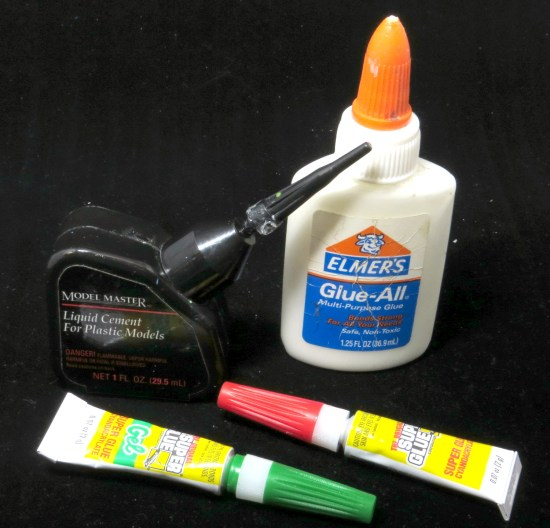 Know the difference between super glue, plastic cement, and white glue