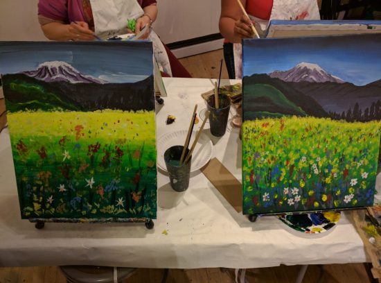 Painting Mt. Rainer at a Paint and Sip