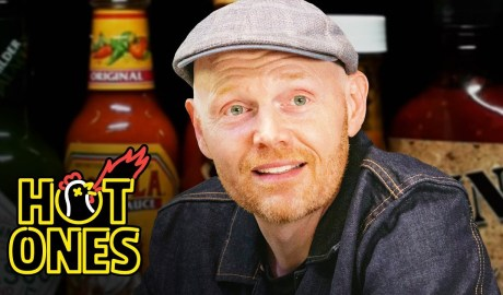 Bill Burr Gets Red in the Face While Eating Spicy Wings