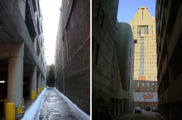 Urban canyons on Louisville alleyways